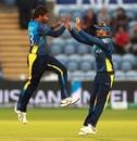 Nuwan Pradeep celebrates dismissing Rashid Khan, Afghanistan v Sri Lanka, World Cup 2019, Cardiff, June 4, 2019
