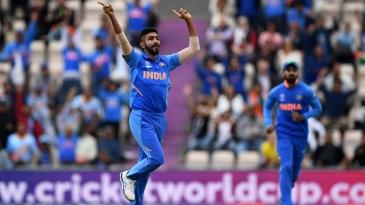 Jasprit Bumrah celebrates Hashim Amla's wicket