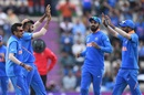 Jasprit Bumrah is congratulated by teammates on dismissing Hashim Amla, India v South Africa, Southampton, World Cup 2019, June 5, 2019