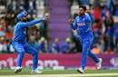 Virat Kohli and Kuldeep Yadav celebrate JP Duminy's wicket, India v South Africa, Southampton, World Cup 2019, June 5, 2019
