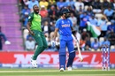 Andile Phehlukwayo celebrates the wicket of Virat Kohli,  India v South Africa, Southampton, World Cup 2019, June 5, 2019