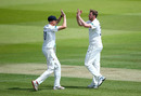 Ollie Robinson celebrates with Luke Wells, Middlesex v Sussex, County Championship Division Two, Lord's, June 2, 2019