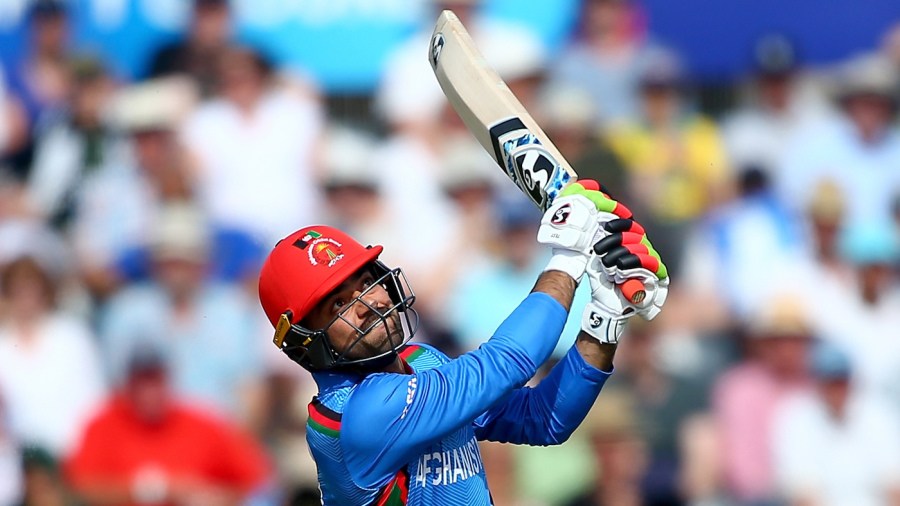 Hooked, line and sinker: Rashid sends a Marcus Stoinis delivery into the great beyond