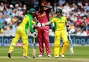 Jason Holder looks disappointed as Steve Smith and Alex Carey celebrate a boundary, Australia v West Indies, World Cup 2019, Trent Bridge, June 6, 2019
