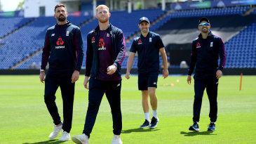 England's fast bowlers check out the conditions in Cardiff