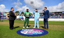 Eoin Morgan and Mashrafe Mortaza at the toss, England v Bangladesh, World Cup 2019, Cardiff, June 8, 2019