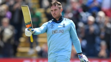 Jason Roy celebrates his century