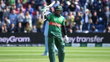 Shakib Al Hasan celebrates after scoring a century