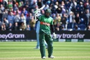 Shakib Al Hasan celebrates after scoring a century, England v Bangladesh, World Cup 2019, Cardiff, June 8, 2019