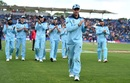 Jason Roy leads his team from the field after victory against Bangaladesh, England v Bangladesh, World Cup 2019, Cardiff, June 8, 2019