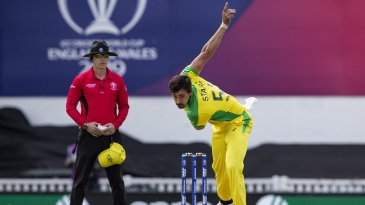 Mitchell Starc in his delivery follow-through