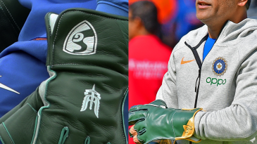 A change of gloves for MS Dhoni in India's second match