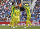 Nathan Coulter-Nile celebrates the wicket of Rohit Sharma, Australia v India, World Cup 2019, The Oval, June 9, 2019