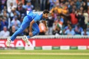 Bhuvneshwar Kumar in his delivery follow-through, Australia v India, World Cup 2019, The Oval, June 9, 2019