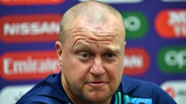 Sri Lanka batting coach Jon Lewis talks to the press