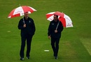 The umpires Rod Tucker and Paul Wilson inspect the pitch, South Africa vs West Indies, World Cup 2019, Southampton, June 10, 2019