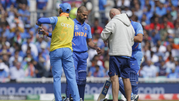 Shikhar Dhawan was hit on his left hand early in his innings against Australia