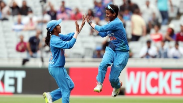 Jemimah Rodrigues and Deepti Sharma celebrate a wicket