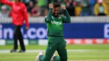 Mohammad Amir celebrates his five-wicket haul