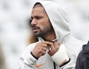 Shikhar Dhawan having his left hand in a cast during a training session, Nottingham, June 12, 2019