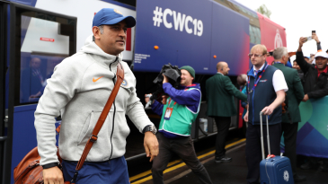 MS Dhoni walks out of the team bus