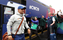 MS Dhoni walks out of the team bus, India v New Zealand, World Cup 2019, Trent Bridge, June 13, 2019