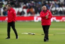 Match umpires Paul Reiffel (left) and Marais Erasmus on a pitch inspection, India v New Zealand, World Cup 2019, Trent Bridge, June 13, 2019