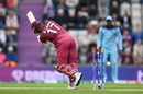 Evin Lewis is bowled by Chris Woakes, England v West Indies, World Cup 2019,  Southampton, June 14, 2019