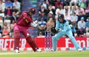 Shimron Hetmyer plays a  shot off  Adil Rashid, England v West Indies, World Cup 2019,  Southampton, June 14, 2019