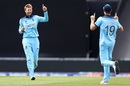 Joe Root celebrates with Chris Woakes after taking the wicket of Shimron Hetmyer, England v West Indies, World Cup 2019,  Southampton, June 14, 2019