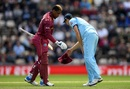 Chris Woakes hands Shimron Hetmyer his hat, England v West Indies, World Cup 2019,  Southampton, June 14, 2019
