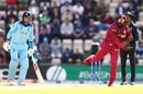 Chris Gayle bowls to Chris Woakes as Joe Root looks on, England v West Indies, World Cup 2019,  Southampton, June 14, 2019