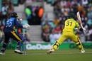 Dhananjaya de Silva beats David Warner's attempted cut to provide Sri Lanka their first wicket, Australia v Sri Lanka, World Cup 2019, The Oval