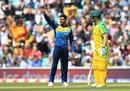 Dhananjaya de Silva celebrates the wicket of Australia's Usman Khawaja, Australia vs. Sri Lanka, World Cup 2019, The Oval, June 15, 2019
