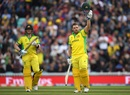Aaron Finch celebrates after reaching his century, Australia v Sri Lanka, World Cup 2019, The Oval, June 15, 2019