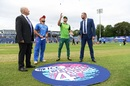 Faf du Plessis tosses the coin as Gulbadin Naib looks on, Afghanistan v South Africa, World Cup 2019, Cardiff, June 15, 2019
