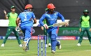 Hazratullah Zazai and Noor Ali Zadran run between the wickets, Afghanistan v South Africa, World Cup 2019, Cardiff, June 15, 2019