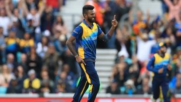 Isuru Udana celebrates a wicket