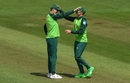 Rassie van der Dussen is congratulated by Chris Morris after his catch off Hazratullah Zazai, Afghanistan v South Africa, World Cup 2019, Cardiff, June 15, 2019