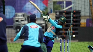 Shakib Al Hasan misses with an attempted hoick in the nets