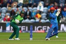 Rashid Khan plays a shot as Quinton de Kock looks on, Afghanistan v South Africa, World Cup 2019, Cardiff, June 15, 2019