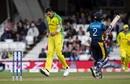 Mitchell Starc celebrates after removing Kusal Mendis, Australia v Sri Lanka, World Cup 2019, The Oval