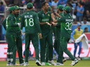 Wahab Riaz celebrates after getting rid of KL Rahul, India v Pakistan, World Cup 2019, Old Trafford, June 16, 2019