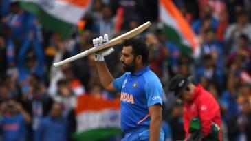 Rohit Sharma celebrates his hundred
