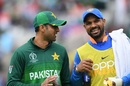 Shoaib Malik and Shikhar Dhawan share a light moment during a drinks break, India v Pakistan, World Cup 2019, Manchester, June 16, 2019