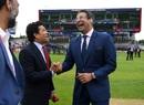 Sachin Tendulkar and Wasim Akram share a light moment during the break, India v Pakistan, World Cup 2019, Old Trafford, June 16, 2019