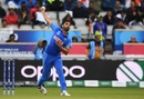 Bhuvneshwar Kumar bowls during his opening spell, India v Pakistan, World Cup 2019, Manchester, June 16, 2019