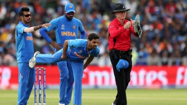 Bhuvneshwar Kumar had to go off because of a hamstring injury