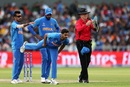 Bhuvneshwar Kumar had to go off because of a hamstring injury, India v Pakistan, World Cup 2019, Manchester, June 16, 2019