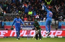 Kuldeep Yadav leaps with joy after getting Babar Azam out, India v Pakistan, World Cup 2019, Manchester, June 16, 2019